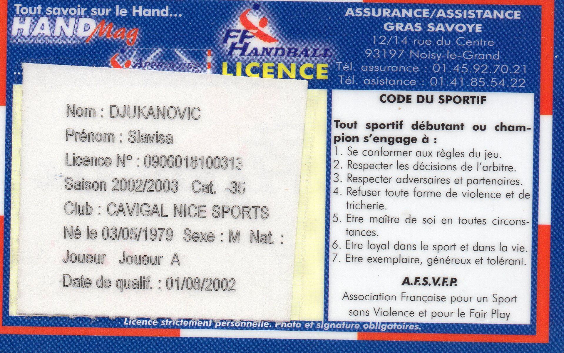 Slavisa Djukanovic | Handball Goalkeeper - Première licence française Cavigal Nice Handball le 1 août 2002
